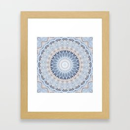 Serenity Mandala in Blue, Ivory and White on Textured Background Framed Art Print
