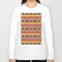 orange pattern Long Sleeve T-shirts featuring Navajo blanket pattern- orange by One Six Eight One
