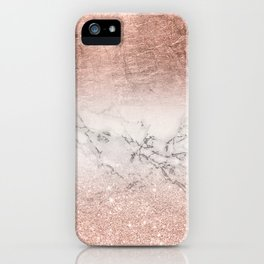 Modern faux rose gold glitter and foil ombre gradient on white marble color block iPhone Case