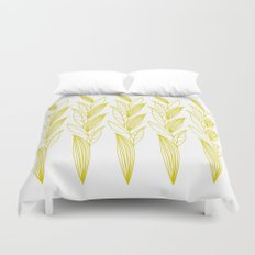 Growing Leaves: Golden Yellow – White background Duvet Cover