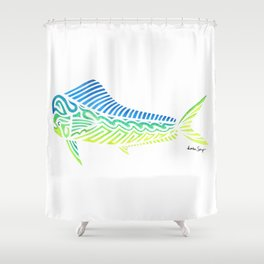 Tribal Mahi Mahi Shower Curtain