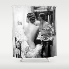 Ziegfeld Girl at her Dressing Table back stage, Paris black and white photograph Shower Curtain