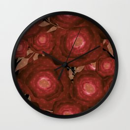 Retro decor. Red flowers . Wall Clock