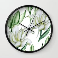 lily Wall Clocks featuring Lily by Julia Badeeva