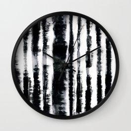 Tie-Dye Shibori Stripe BW Wall Clock