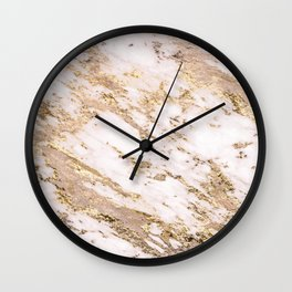 Golden smudge - blush marble Wall Clock