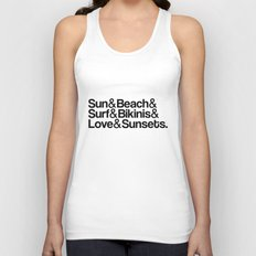 Sun, surf, bikinis Unisex Tank Top