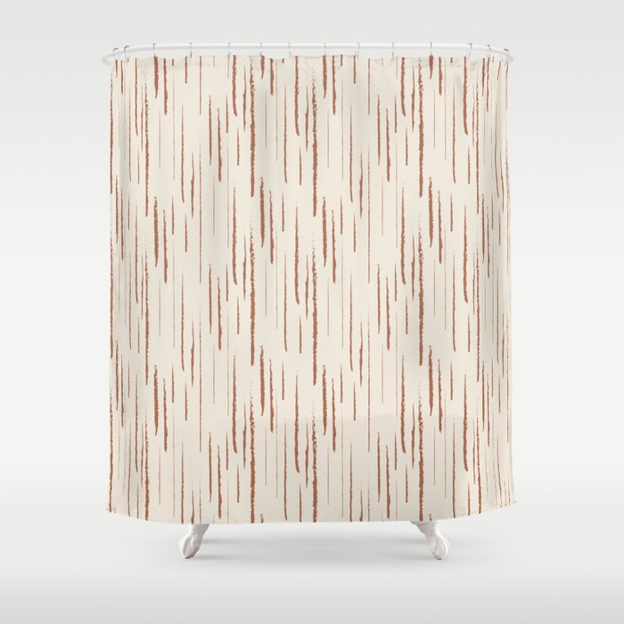 Cavern Clay SW 7701 Grunge Vertical Stripes on Creamy Off White SW7012 Shower Curtain