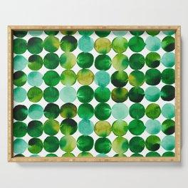 Green Watercolor Circles Pattern Serving Tray