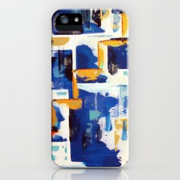 Stairway to Heaven: Abstract Acrylic Painting with blue and white and orange colors iPhone Case