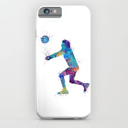 Volleyball Girl Art Libero Player Gift Colorful Blue Purple Watercolor Decor iPhone Case
