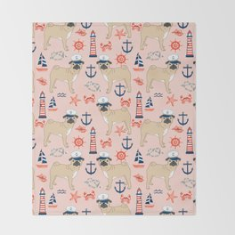 Pug nautical anchor sailing lighthouses dog breed pet portraits by pet friendly Throw Blanket