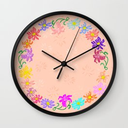 Wreath from abstract flowers with background Wall Clock