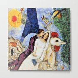 The Betrothed and Eiffel Tower, 1913 by Marc Chagall Metal Print