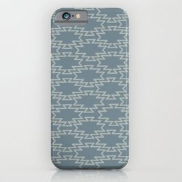 Southwest Azteca - Minimalist Geometric Pattern in Neutral Medium Blue Gray iPhone Case