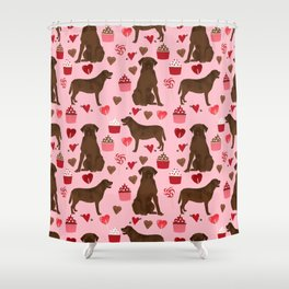 Chocolate Labrador Retriever valentines day cupcakes love hearts dog gifts labs Shower Curtain
