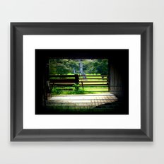 Looking through a cattle Shed Framed Art Print