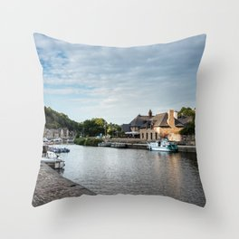 The habour of the city of Dinan Throw Pillow