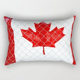 Rustic Canada Flag behind Chain Link Fence Rectangular Pillow