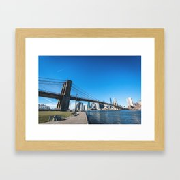 brooklyn bridge in manhattan - new york city Framed Art Print