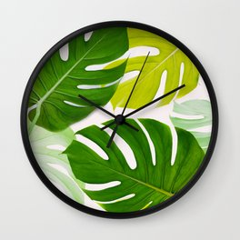 Colorful Monstera Wall Clock