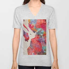 Everett map Washington painting 2 Unisex V-Neck