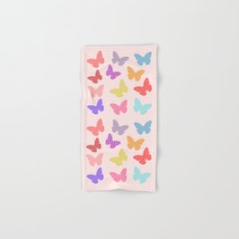 Multicoloured Butterflies on Pink Hand & Bath Towel