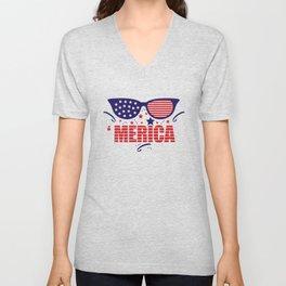 America 4th July Unisex V-Neck
