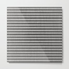 Bohemian Art, Natural Linen Stripes, Black and Gray, Boho Wall Art Metal Print