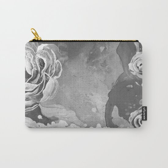Mad Lucy's Golden Roses. Yellow Roses and Galaxy Blue in Black and White Shadow Carry-All Pouch