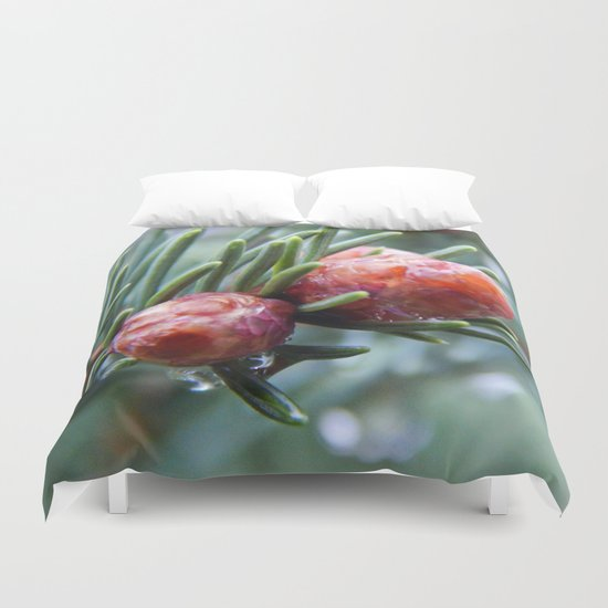 Tiny Red Pine Cones Duvet Cover