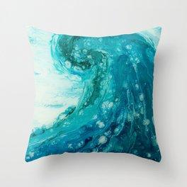 Crashing Waves Resin Painting Throw Pillow