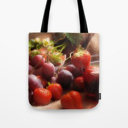 Fresh strawbeerie and Grapes to fall in love with Tote Bag