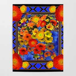 BLUE ABSTRACT OF POPPIES & YELLOW PETUNIA FLOWERS Poster