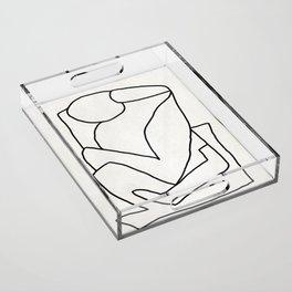 Abstract line art 2 Acrylic Tray