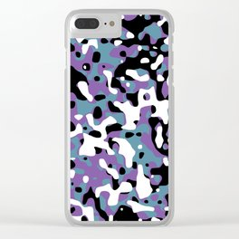 Uncovered Camouflage Purple And Turquoise Clear iPhone Case