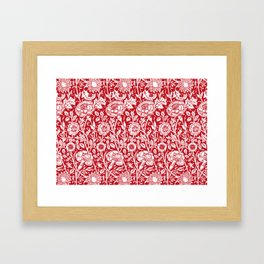 "William Morris Floral Pattern | ""Pink and Rose"" in Red and White Framed Art Print"