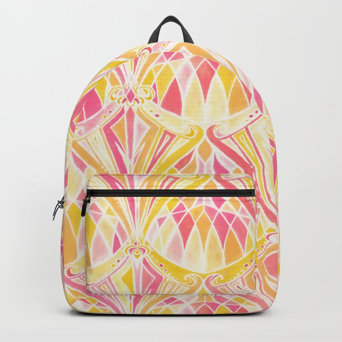 Art Deco Pattern in Pink and Orange Backpack