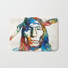 Native American Art - Warrior - By Sharon Cummings Bath Mat