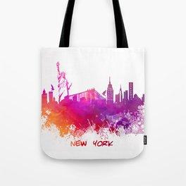 Skyline New York pink red Tote Bag