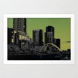 Melbourne City - Footbridge over Yarra River  Art Print