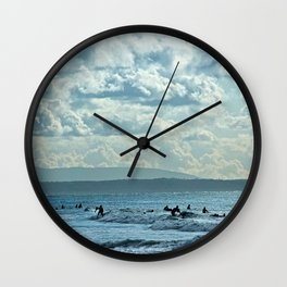 Surfers Riding Sea Waves Scenic Seascape Wall Clock