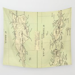 Vintage Map of The Virgin Islands (1853) Wall Tapestry