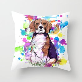 Cute watercolor beagle with paint splatters Throw Pillow