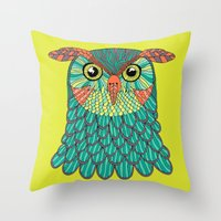 lime green Throw Pillows featuring owl - Lime green by bluebutton studio