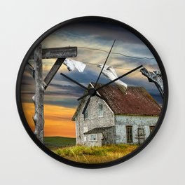 Wash on the Line Wall Clock