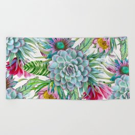 Exotic flower garden Beach Towel