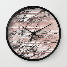 Chic Rose Gold Brushstrokes on Black White Marble Wall Clock