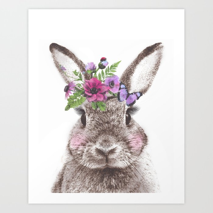 Bunny With Flowers Art Print By Svetache Society6