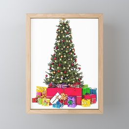 Christmas Tree decorated evergreen conifer spruce fir celebration Framed Mini Art Print